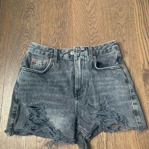 Top shop distressed mom jean shorts